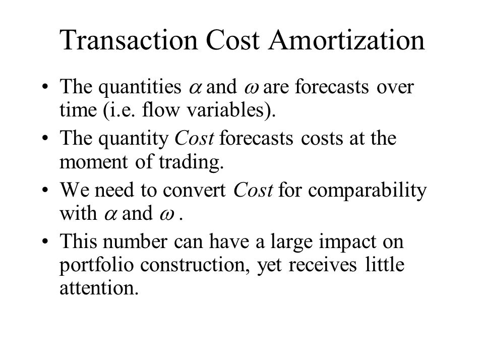 Transaction Cost Amortization