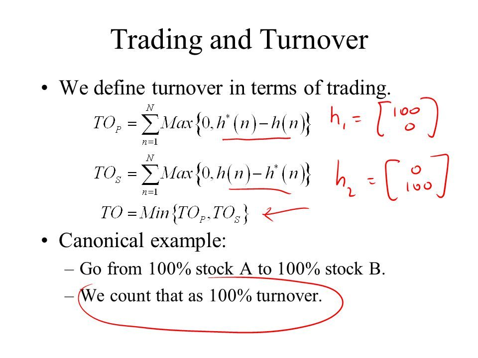 Trading and Turnover We define turnover in terms of trading.