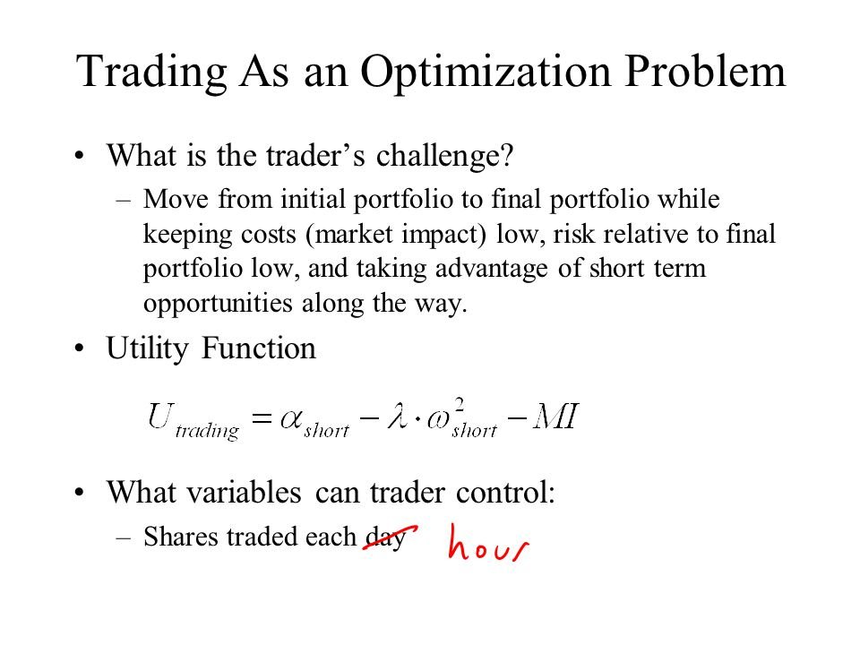 Trading As an Optimization Problem