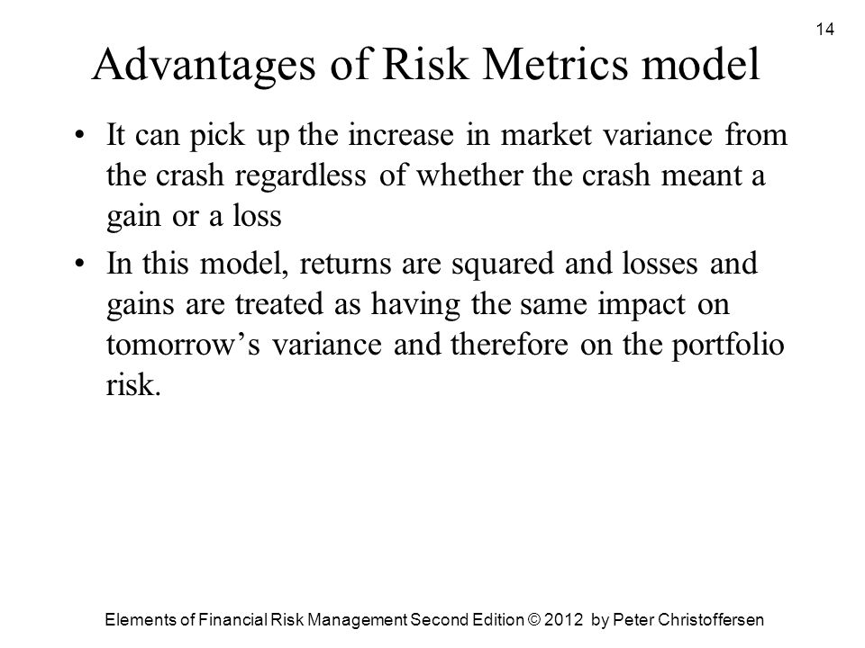 Advantages of Risk Metrics model