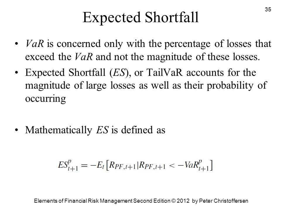 Expected Shortfall VaR is concerned only with the percentage of losses that exceed the VaR and not the magnitude of these losses.