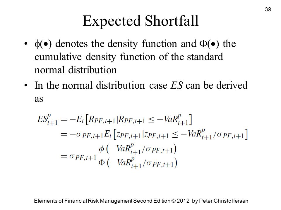 Expected Shortfall () denotes the density function and () the cumulative density function of the standard normal distribution.