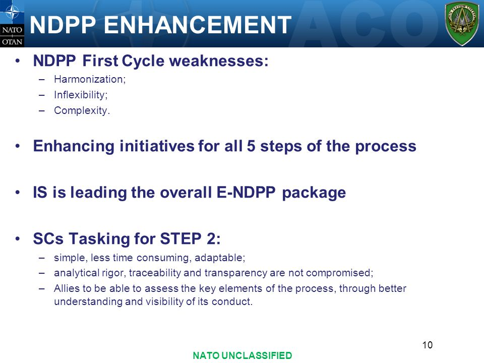 NDPP ENHANCEMENT NDPP First Cycle weaknesses: