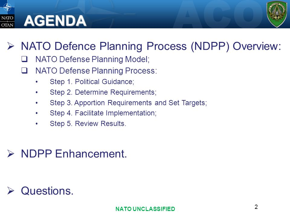 AGENDA NATO Defence Planning Process (NDPP) Overview: