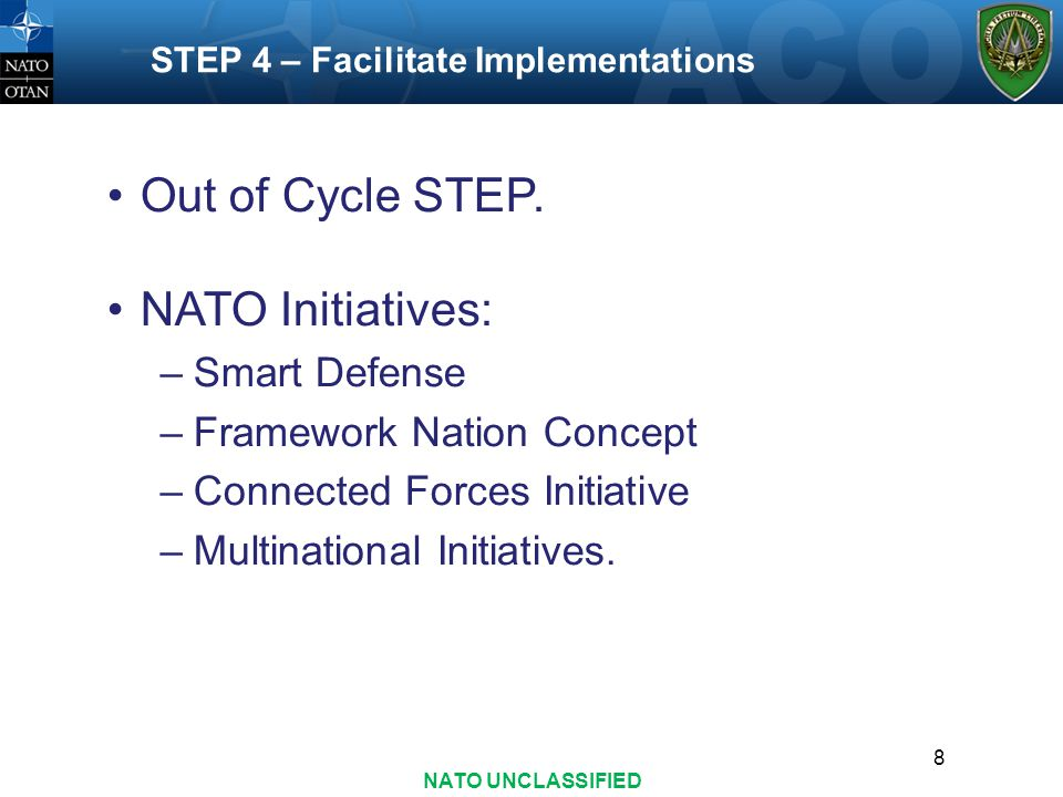 Out of Cycle STEP. NATO Initiatives: Smart Defense