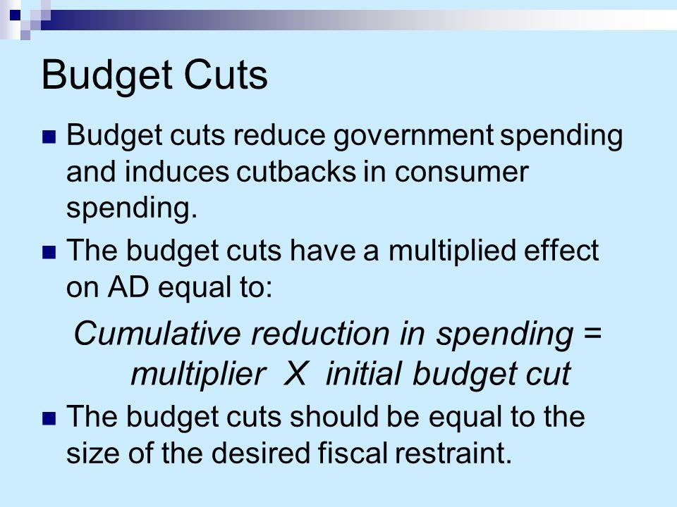 Cumulative reduction in spending = multiplier X initial budget cut