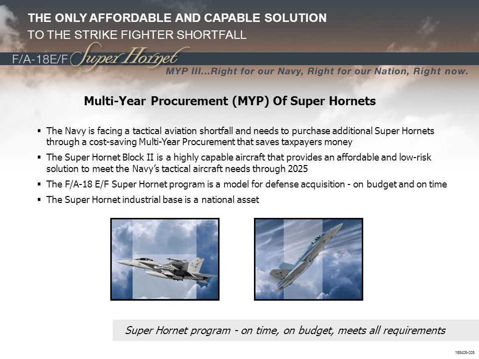 Multi-Year Procurement (MYP) Of Super Hornets