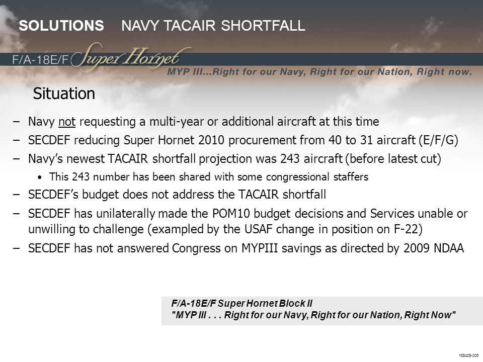 Situation SOLUTIONS NAVY TACAIR SHORTFALL