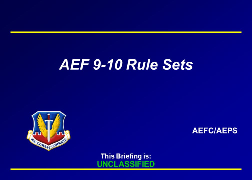 AEF 9-10 Rule Sets AEFC/AEPS