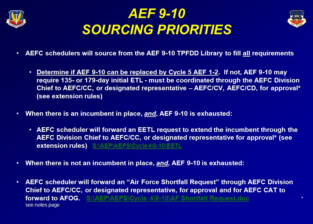 AEF 9-10 SOURCING PRIORITIES