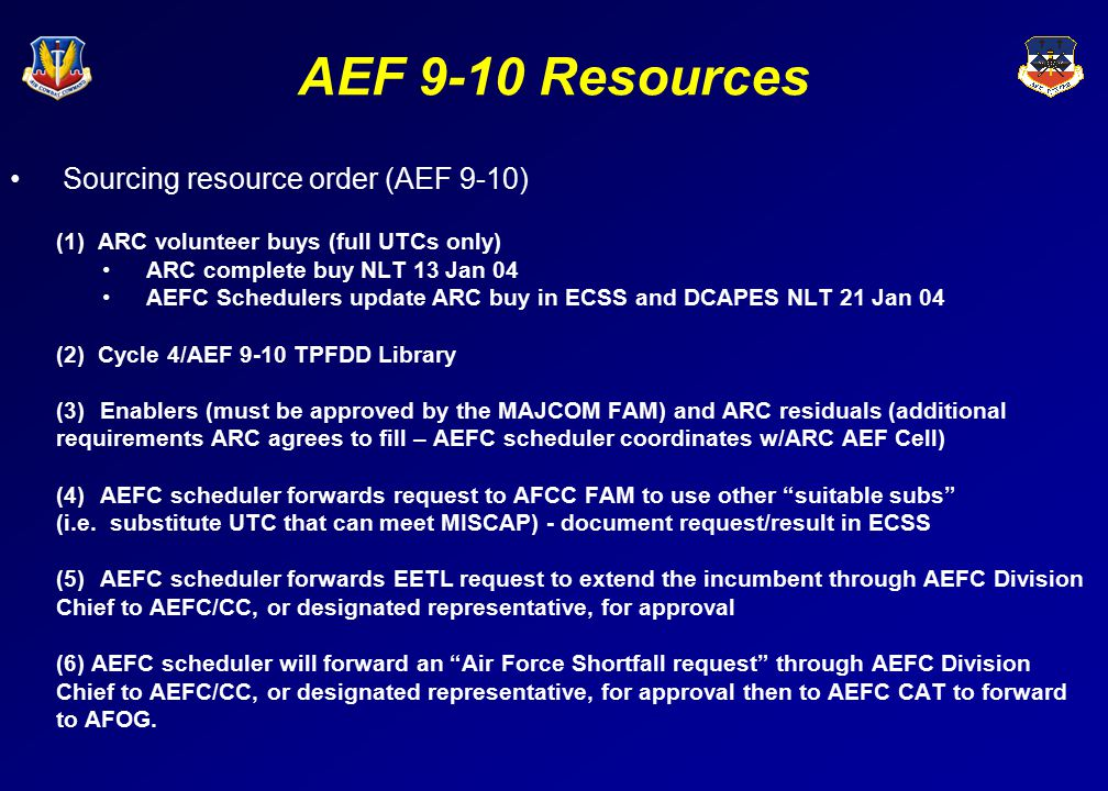 AEF 9-10 Resources Sourcing resource order (AEF 9-10)