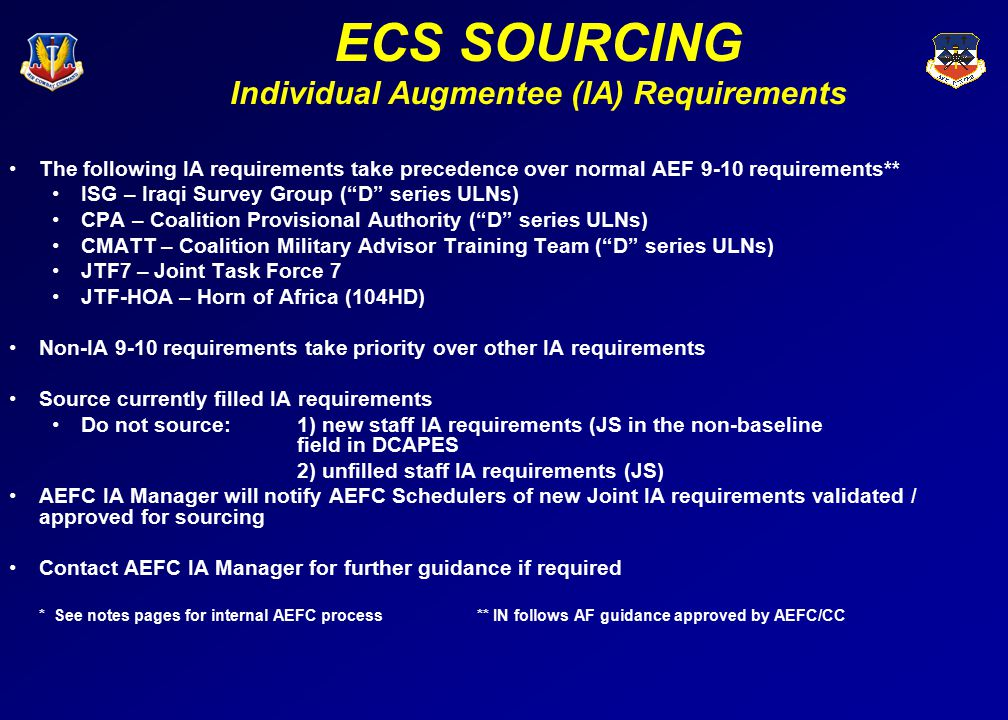 ECS SOURCING Individual Augmentee (IA) Requirements