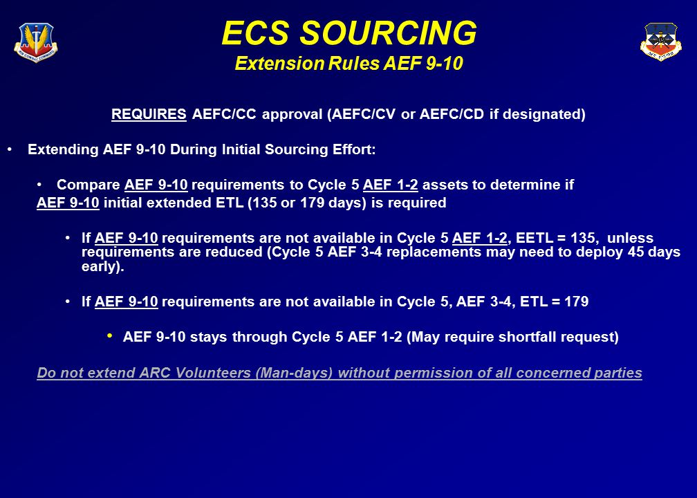 ECS SOURCING Extension Rules AEF 9-10