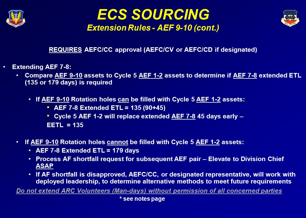 ECS SOURCING Extension Rules - AEF 9-10 (cont.)