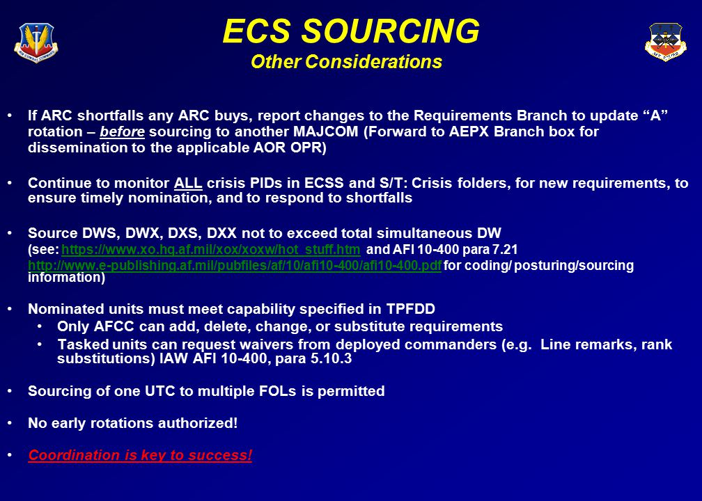 ECS SOURCING Other Considerations