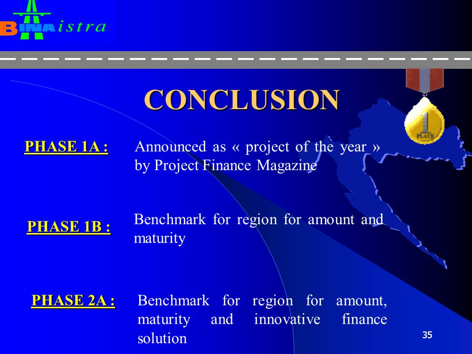 CONCLUSION PHASE 1A : Announced as « project of the year » by Project Finance Magazine. Benchmark for region for amount and maturity.