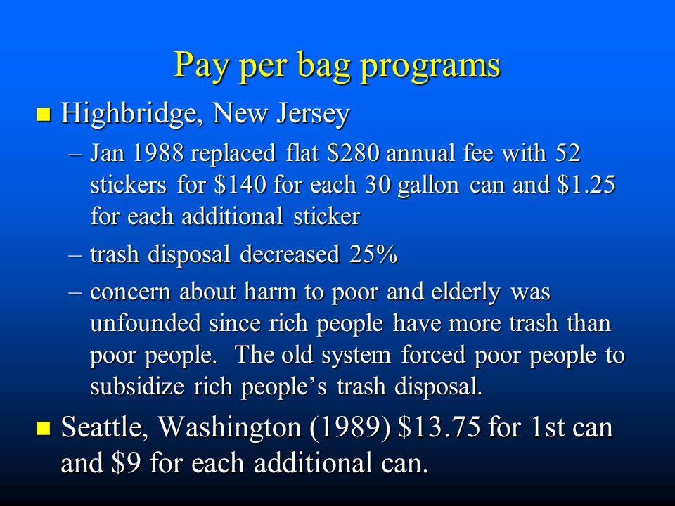 Pay per bag programs Highbridge, New Jersey