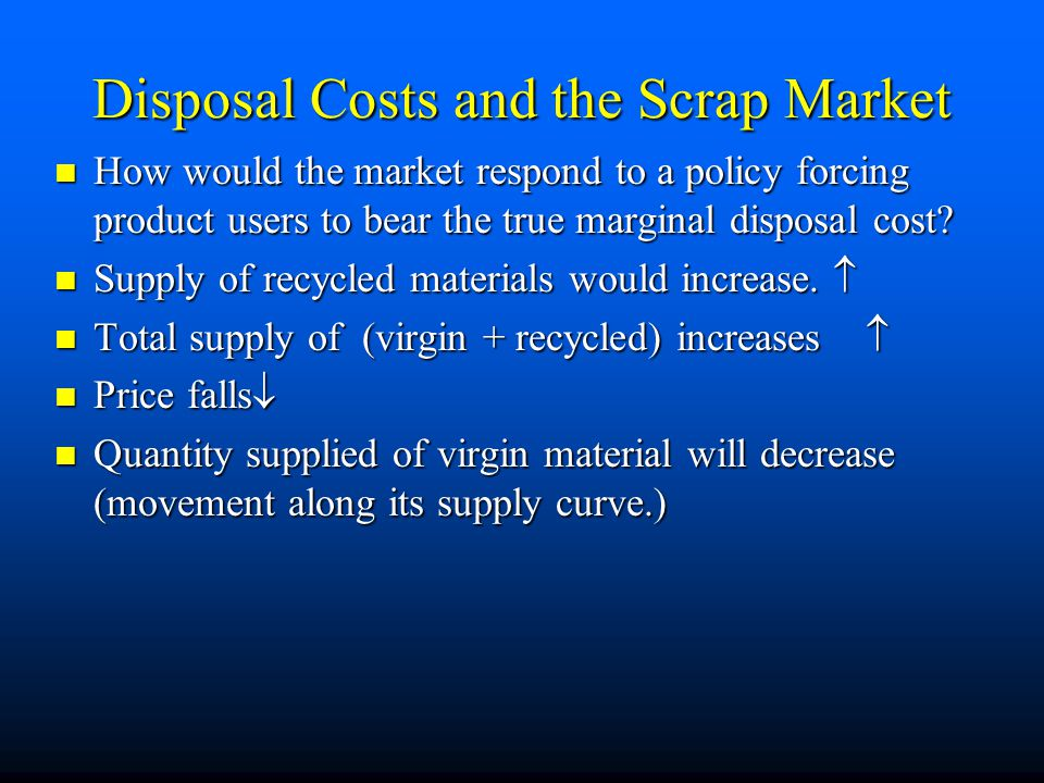 Disposal Costs and the Scrap Market