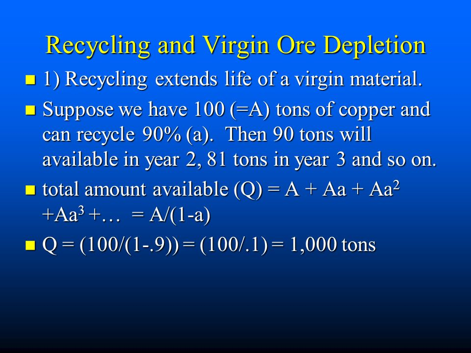 Recycling and Virgin Ore Depletion