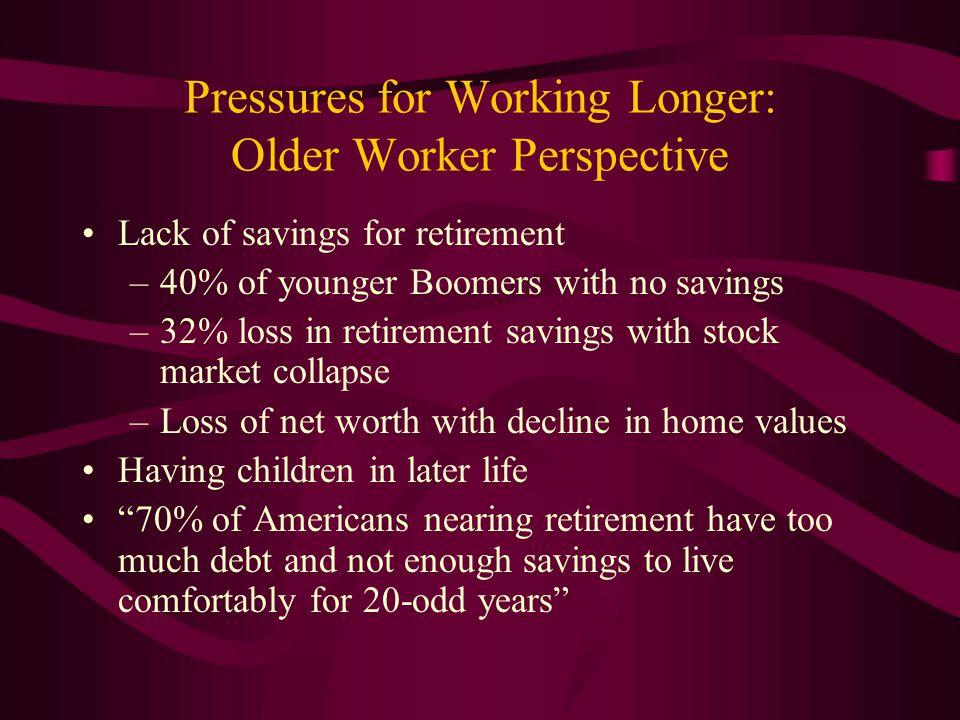 Pressures for Working Longer: Older Worker Perspective