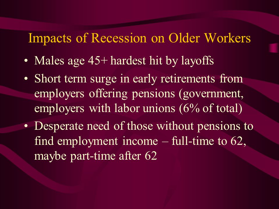 Impacts of Recession on Older Workers
