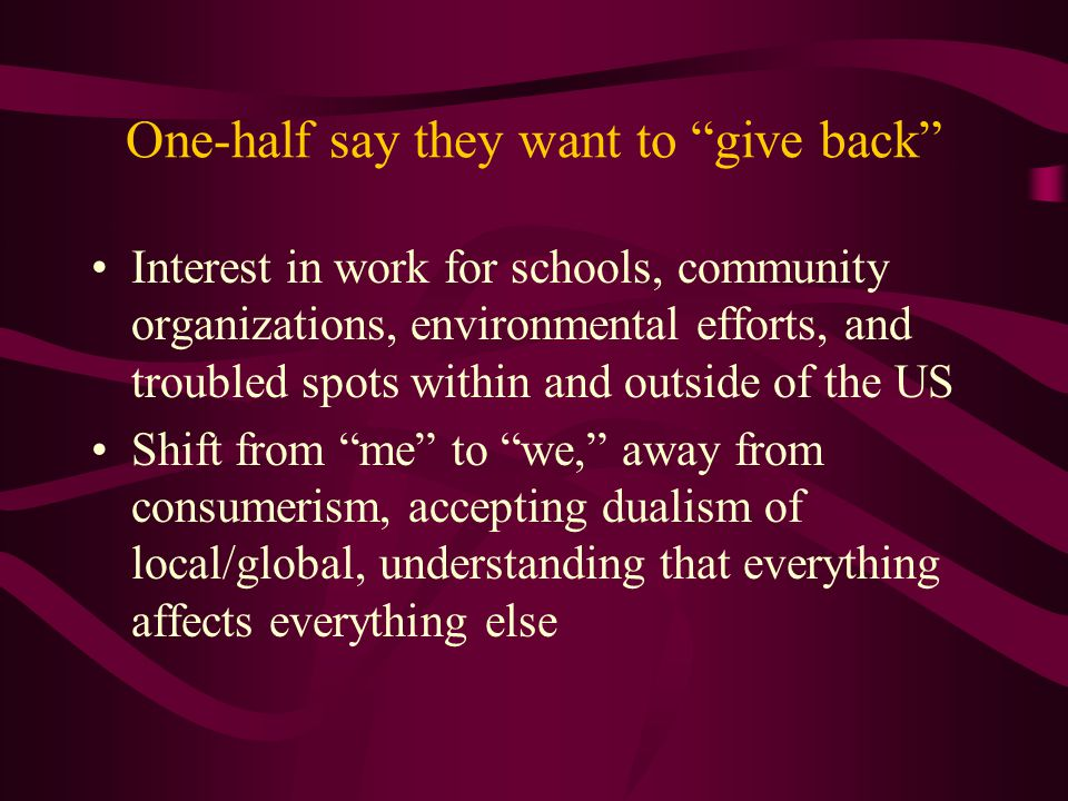 One-half say they want to give back