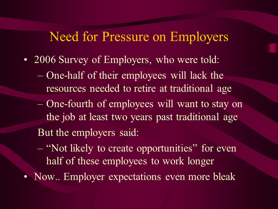 Need for Pressure on Employers