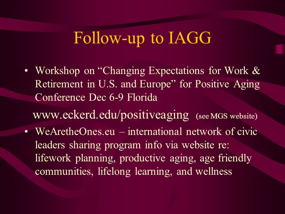 Follow-up to IAGG Workshop on Changing Expectations for Work & Retirement in U.S. and Europe for Positive Aging Conference Dec 6-9 Florida.
