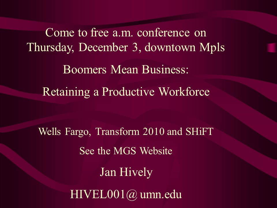Come to free a.m. conference on Thursday, December 3, downtown Mpls