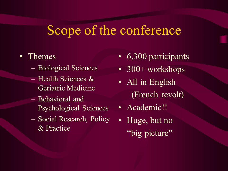 Scope of the conference