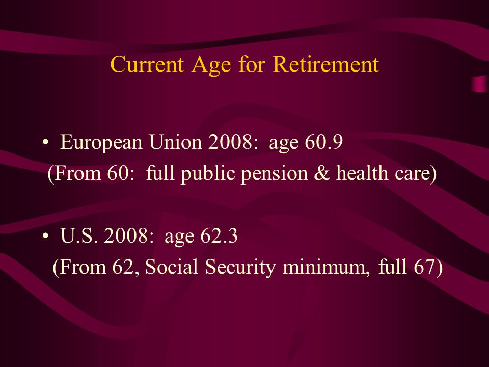 Current Age for Retirement