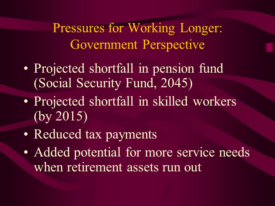 Pressures for Working Longer: Government Perspective