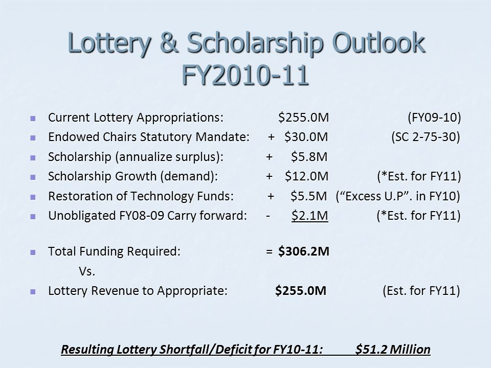 Lottery & Scholarship Outlook FY2010-11