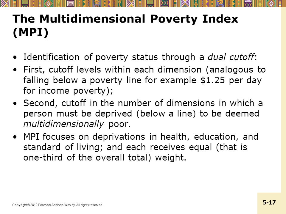 The Multidimensional Poverty Index (MPI)