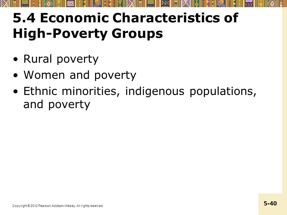 5.4 Economic Characteristics of High-Poverty Groups