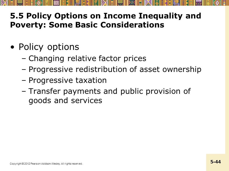 5.5 Policy Options on Income Inequality and Poverty: Some Basic Considerations