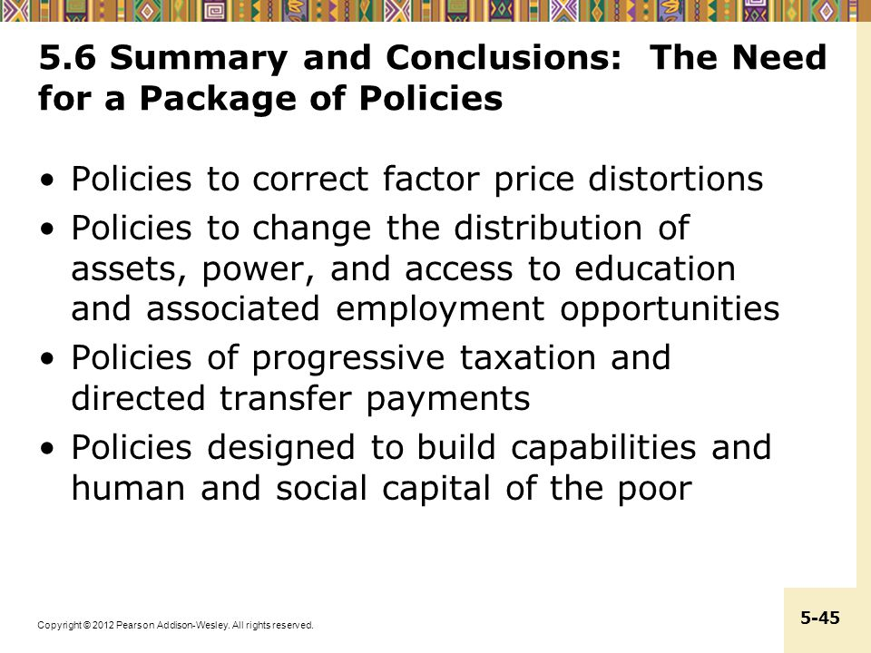 5.6 Summary and Conclusions: The Need for a Package of Policies