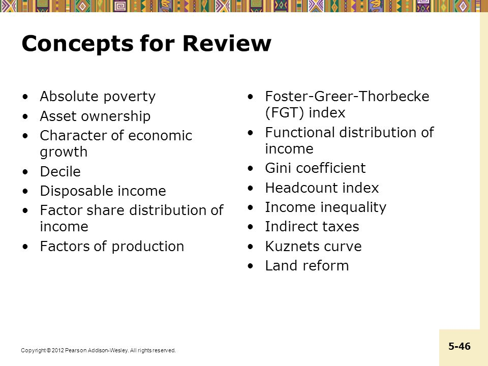 Concepts for Review Absolute poverty Asset ownership