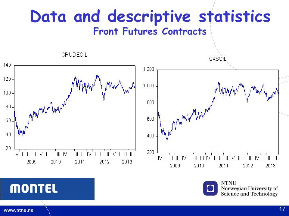 Data and descriptive statistics Front Futures Contracts