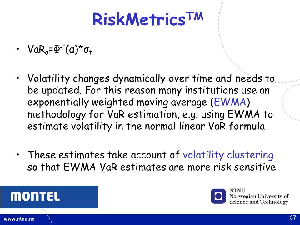 RiskMetricsTM VaRα=Ф-1(α)*σt
