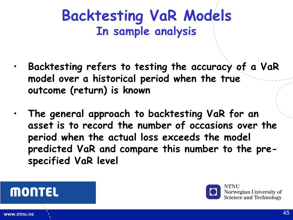 Backtesting VaR Models