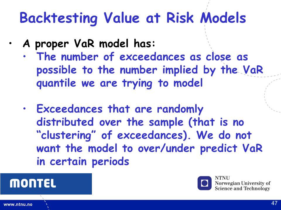 Backtesting Value at Risk Models