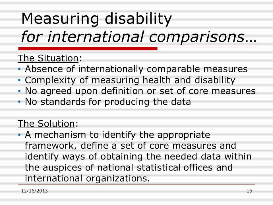 Measuring disability for international comparisons…