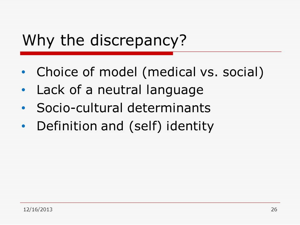 Why the discrepancy Choice of model (medical vs. social)