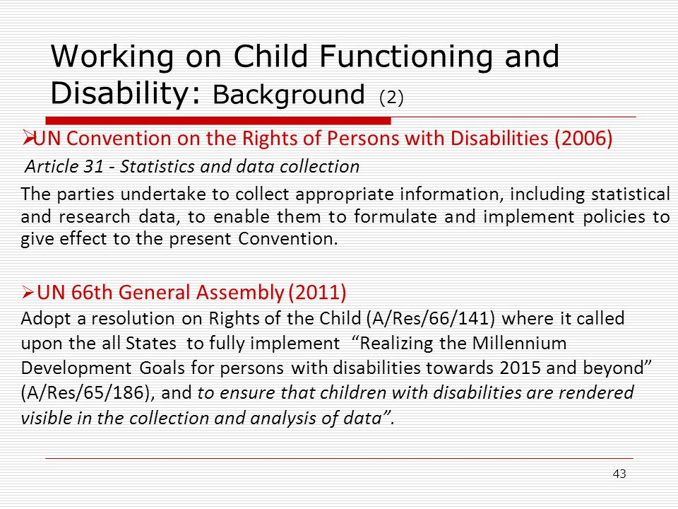 Working on Child Functioning and Disability: Background (2)