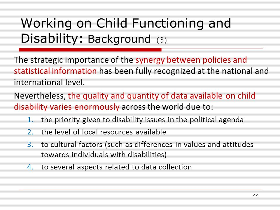 Working on Child Functioning and Disability: Background (3)