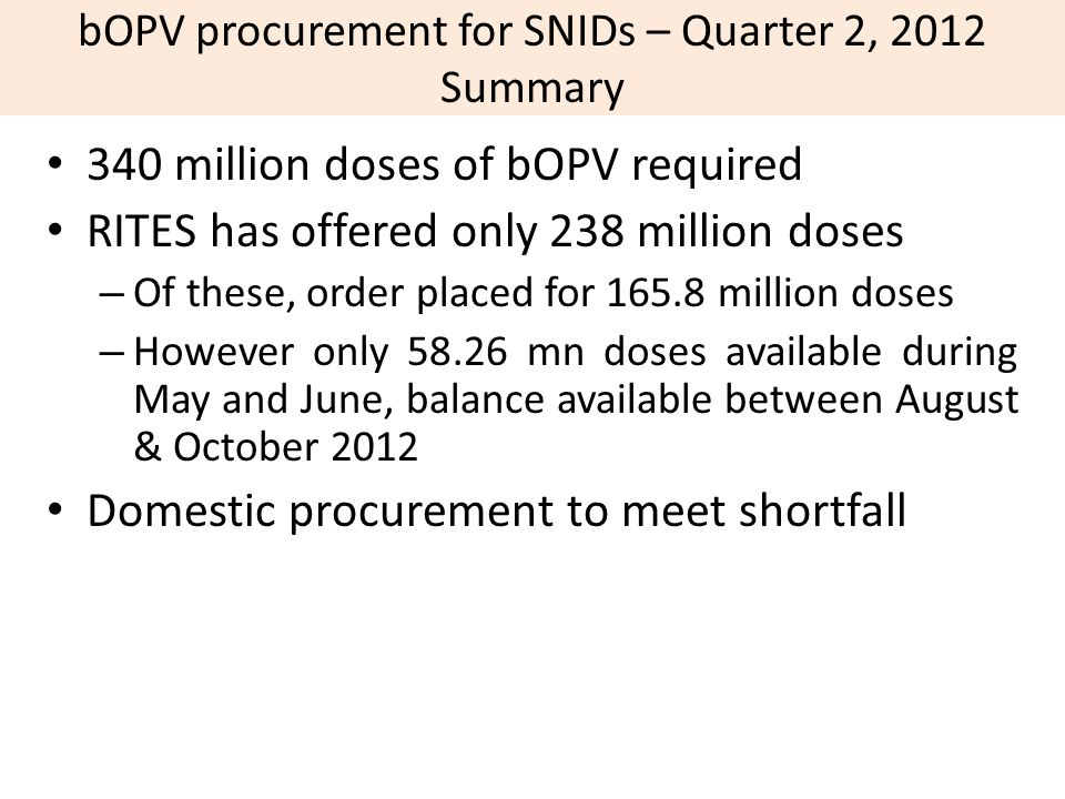 bOPV procurement for SNIDs – Quarter 2, 2012 Summary
