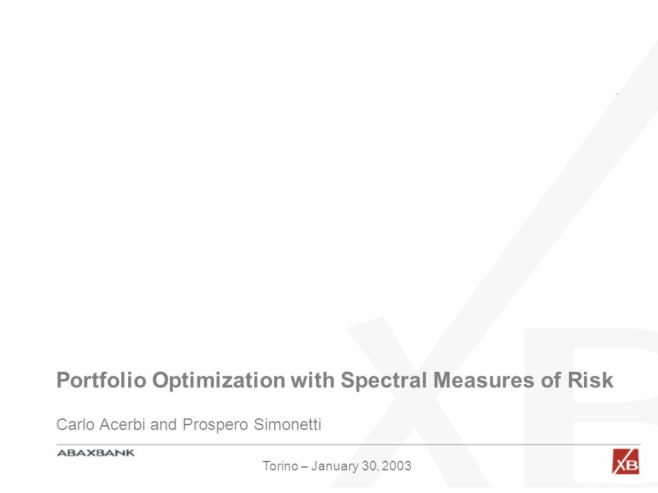 Portfolio Optimization with Spectral Measures of Risk