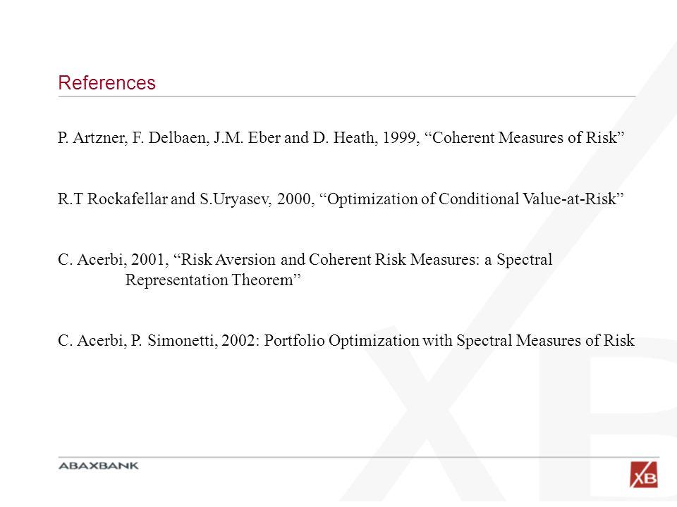 References P. Artzner, F. Delbaen, J.M. Eber and D. Heath, 1999, Coherent Measures of Risk