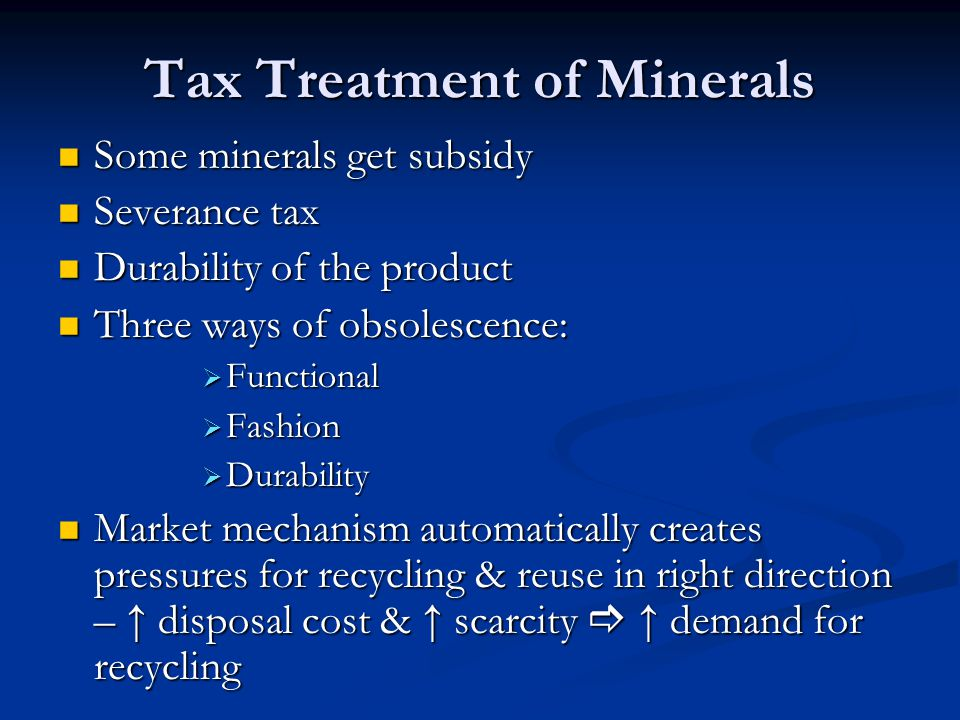 Tax Treatment of Minerals